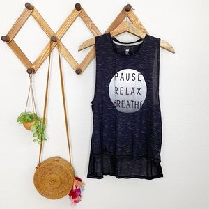 H&M Pause Relax Breathe gray work out tank L EUC